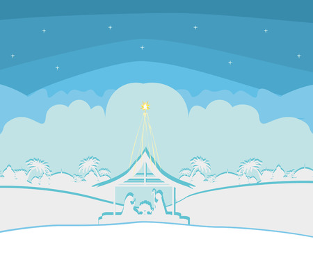 Birth of Jesus in Bethlehem Illustration