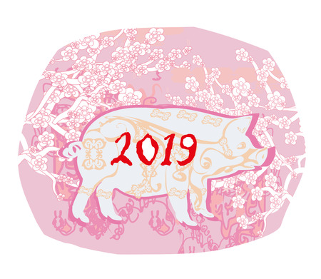 Chinese zodiac the year of Pig - card