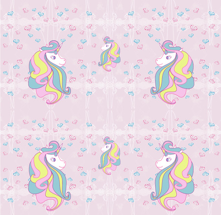 Seamless pattern with cute unicorns