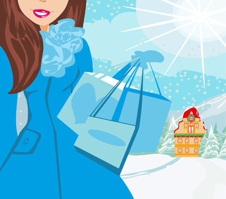 winter shopping card