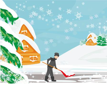 Man shoveling snow on winter landscape Çizim