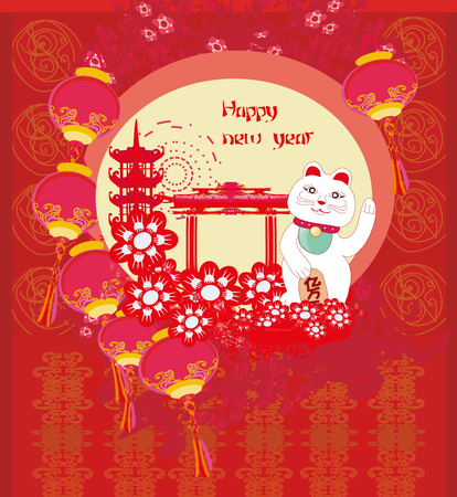 Mid-Autumn Festival for Chinese New Year- card with Maneki Neko Cat wishing Good Luck Illustration