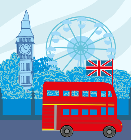London Street with red bus and big ben