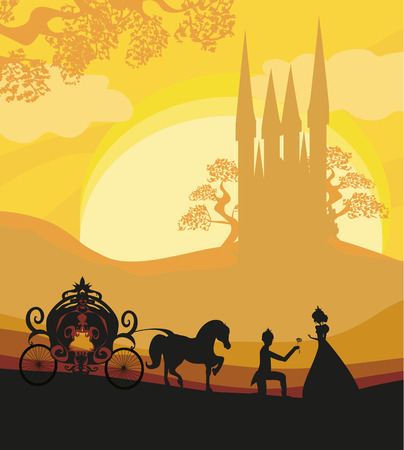 Prince, princess and carriage Illustration