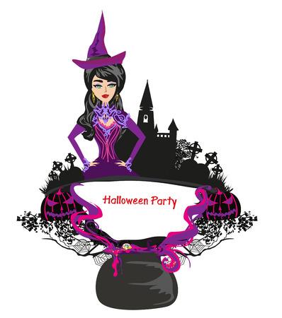 Halloween witch - decorative frame Illustration