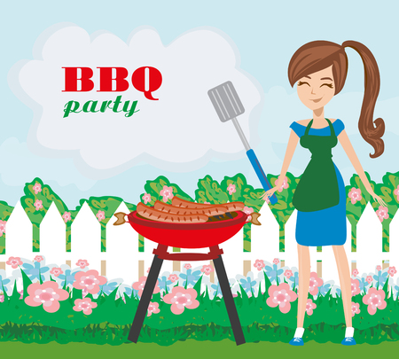 Woman cooking on a grill - invitation to the party Illustration