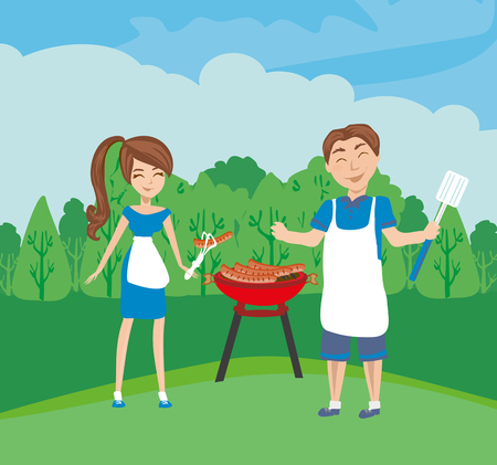 Smiling man and woman cooking barbecue
