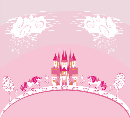Beautiful unicorn and fairy-tale princess castle card