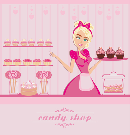 waitress selling candy  イラスト・ベクター素材