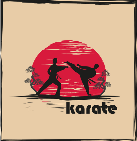 Creative abstract illustration of karate fighters
