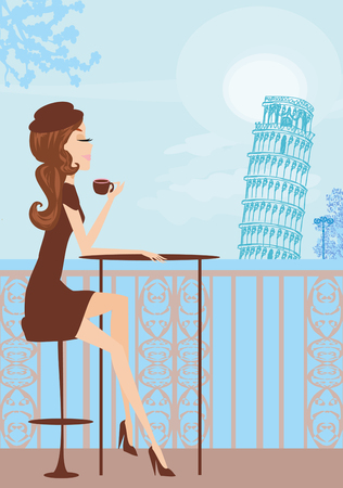 Travel girl in Italian cafe