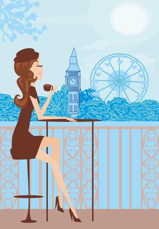Pretty girl in London cafe Ilustrace