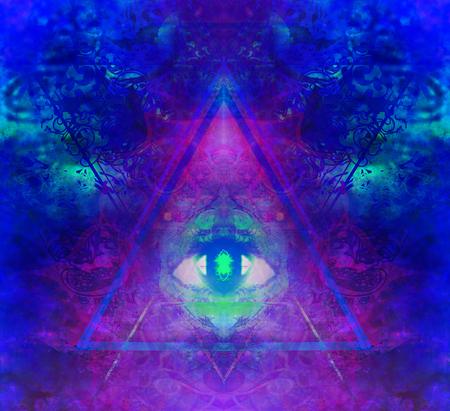 Illustration of a third eye mystical sign