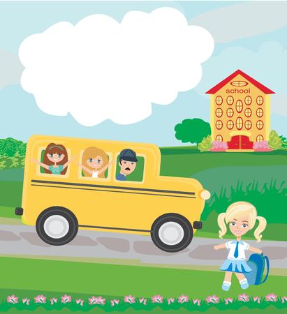 Niños felices van a la escuela