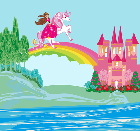 Sweet girl on a unicorn flying on a rainbow Banque d'images - 119160931