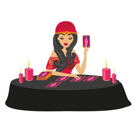 fortune teller forecasting future with tarot cards Vektorové ilustrace