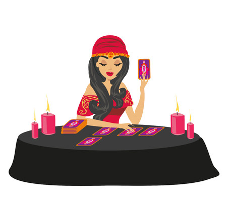 fortune teller forecasting future with tarot cards Illustration