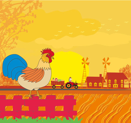 rooster crowing on the fence  イラスト・ベクター素材