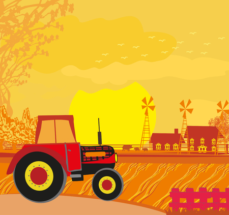 Tractor on rural landscape  イラスト・ベクター素材