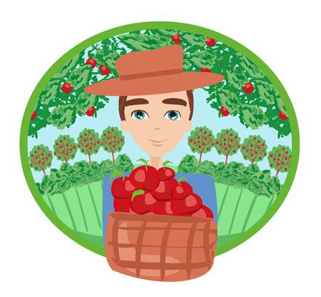 Apple picking , man with apple.  イラスト・ベクター素材
