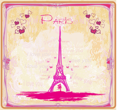 Romantic couple in Paris - abstract card Иллюстрация