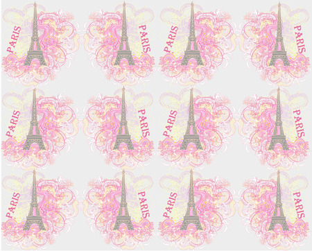 Vintage retro Eiffel tower pattern