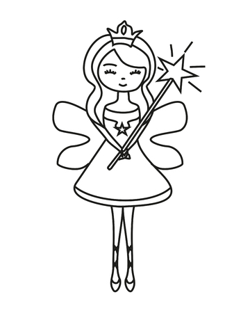 charming fairy with magic wand