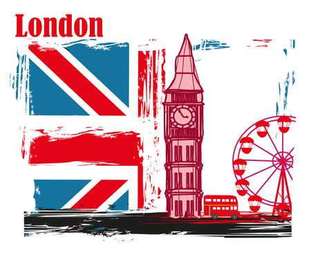 grunge frame with Big Ben in London