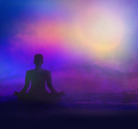 meditation on sea beach at twilight