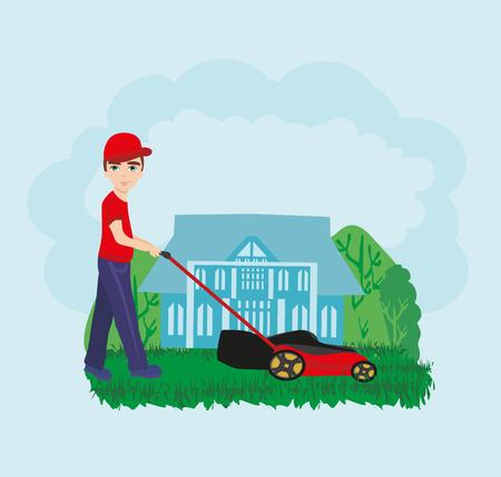 tondeuse à gazon, homme, jardinier, dessin animé