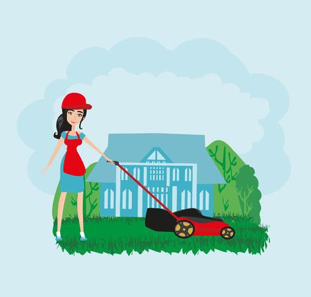 La jeune femme tond l'herbe avec une tondeuse Vecteurs