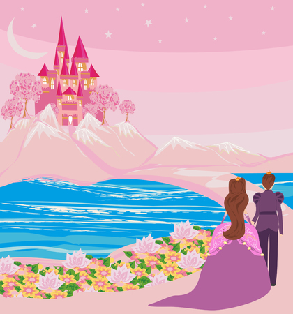 princess with prince in a magical land Illustration