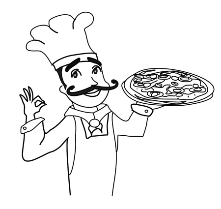 Chef with pizza - doodle Illustration  イラスト・ベクター素材