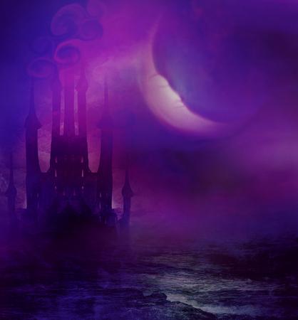 Paysage abstrait avec le vieux château et la lune endormie
