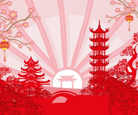 Festival del Medio Otoño del Año Nuevo Chino - tarjeta Ilustración de vector