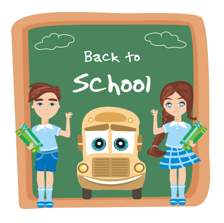 Back to school card, School bus and happy children  イラスト・ベクター素材