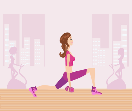 Woman making lunges with dumbbells  イラスト・ベクター素材