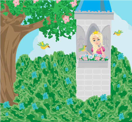 Cartoon fairy tale scene with castle tower and beautiful princess  イラスト・ベクター素材