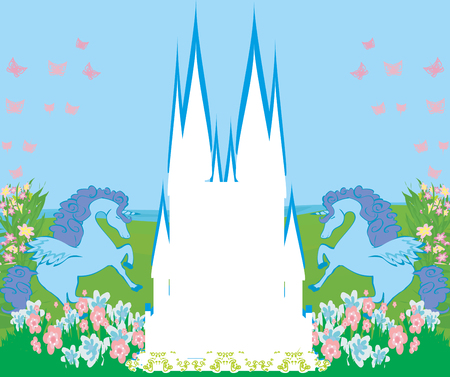 Card with a cute unicorns, abstract castle frame  イラスト・ベクター素材