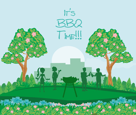 barbecue in the park, abstract card, invitation Illustration