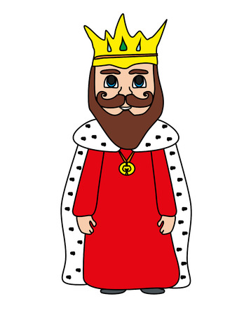 Funny cartoon King on white background - isolated doodle illustration