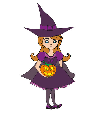 Sweet witch standing with pumpkin