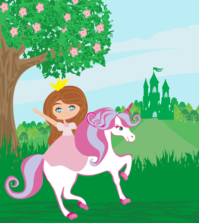 sweet little Princess riding a fairy-tale horse