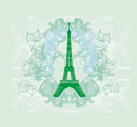 Vintage Retro Eiffel Tower Abstract Card Reklamní fotografie - 124431198