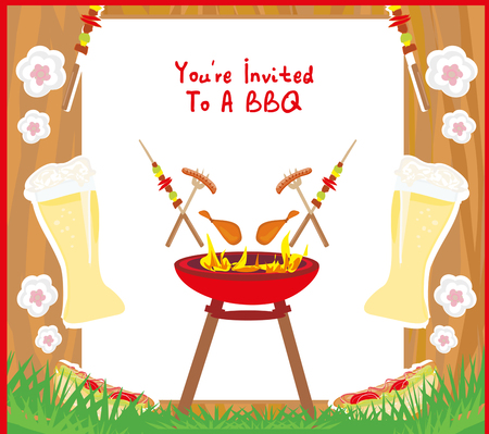 Barbecue Party menu card Invitation Illustration