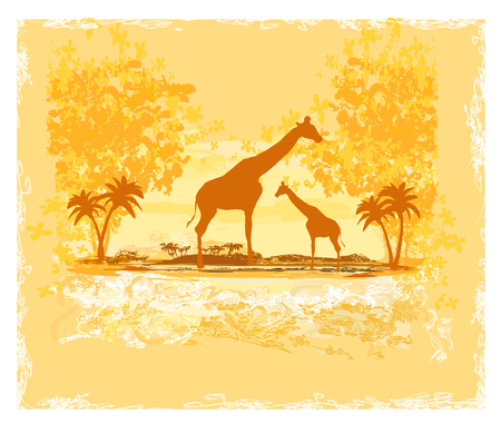 Grunge background with giraffe silhouette on abstract African landscape