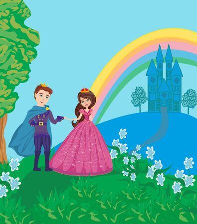 Princess and Prince in Beautiful Garden Foto de archivo - 124819718