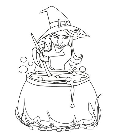 Halloween witch preparing potion