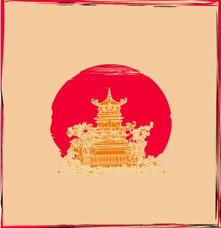 abstract card with an Asian traditional building Ilustração