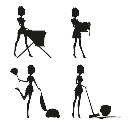 Sexy pinup style french maid at work - Set silhouette